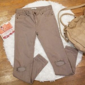 Free People Brown Khaki Busted Knee Jeans